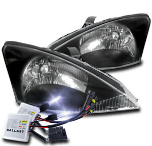 For 2000 2004 Ford Focus Black Replacement Headlights Lamp Assembly W 10000k Hid