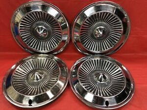Vintage Set Of 4 1961 Dodge 14 Hubcaps Coronet Dart Polara Mopar Good Condition