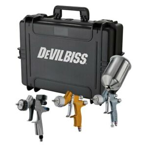 Devilbiss 704514 Tekna 3 Pc Gravity Feed Spray Gun Kit W Dv1 Base Digital