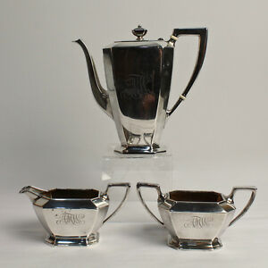 Antique Gorham Fairfax Sterling Silver Tea Set Teapot Creamer Sugar Sl