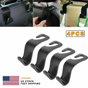 4x Car Seat Back Headrest Hooks Hanger Holder Hook For Bag Purse Cloth Grocery