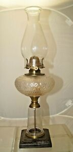 Antique 1880 S 90 S Ornate Eapg Crystal Glass Oil Lamp W Cast Iron Base