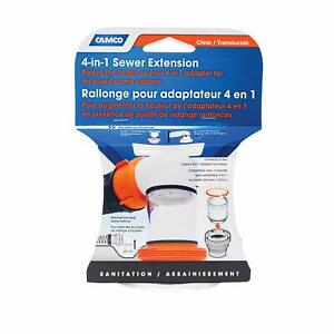Camco 4 in 1 Sewer Extension Length 3 5 8 3 5 diameter Clear 39735