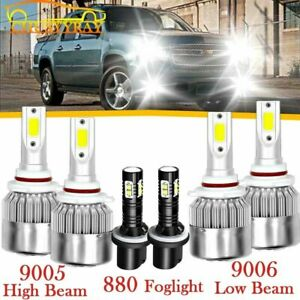 Combo 9005 9006 880 Led Headlight Fog Bulbs White For Gmc Yukon Denali 2004 2005