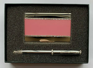 Pink Metal Card Holder Pen With Swarovski Crystal Decoration In Gift Box