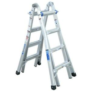 18 Ft Aluminum Telescoping Multi Position Ladder Werner W 300 Lb Load Capacity