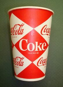 4 COUNT 7OZ COKE COCA COLA DIAMOND LOGO WAX PAPER CUPS 60S