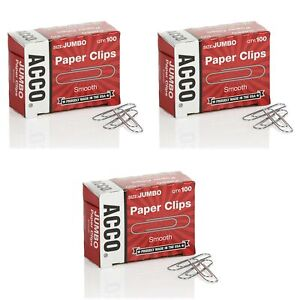 Acco Paper Clips Jumbo Smooth Economy 10 Boxes 100 box 72580 Pack Of 3