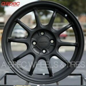 16x7 Rota F500 4x100 40 Flat Black Wheels set Of 4