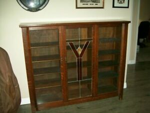 Antique Oak Bookcase 3 Glass Doors Solid And Functional Beauty