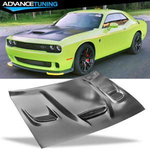 Fits 08 20 Dodge Challenger Hellcat Style Hood Scoop W Air Intake Vent Aluminum