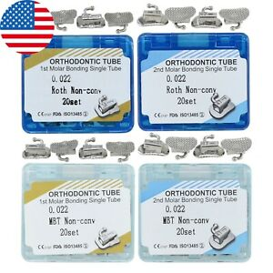 20sets Dental Orthodontic Buccal Tube Roth Mbt 022 First Second Molar Bonding