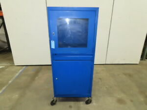 Harsh Environment Rolling Mobile Steel Security Computer Cabinet 24x26x63