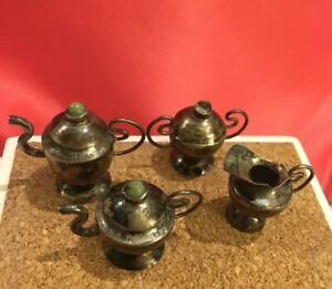 Vintage Antique Sterling Silver Doll House Mini Tea Pot Sugar Bowl Creamer Set