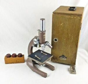 Swift Reflecting Monocular Microscope With Wooden Case Student School Display