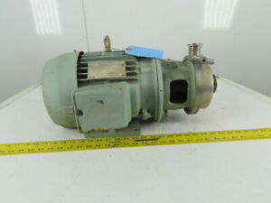 Creapco 2 x1 1 2 Stainless Steel Sanitary End Suction Pump 5hp 230 460 3ph