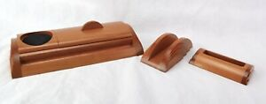 Levenger Wood Wooden 3 Pc Desk Set Business Card Letter Pen Holder Quality Pcs