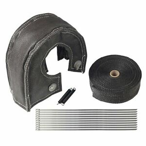 T6 Turbo Heat Shield Blanket Cover Black 2 50ft Exhaust Header Wrap Tape New