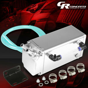 Square Full Billet Aluminum Engine Oil Catch Reservoir Breather Tank can Silver