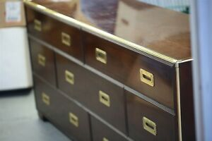 Vintage Baker Campaign Style Dresser 7 Drawer Low Chest Mid Century Furniture