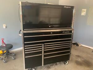 Snap on Master Series Krl1022 Black Toolbox With Hutch Stainless Drawer Guards
