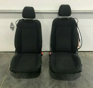 2015 2019 Ford Mustang Gt Front Seat Set Black Folding Cloth Bolstered Oem