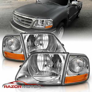 For 97 03 02 Ford F150 Expedition Lightning Style Chrome Headlight Corner Pair