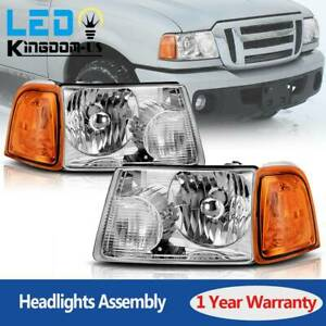 For 2001 2011 Ford Ranger Headlights Replacement Chrome Headlamp Assembly Pair