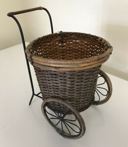 Antique Baby Doll Push Laundry Flower Cart Vtg Wood Buggy Wicker Wrought Iron