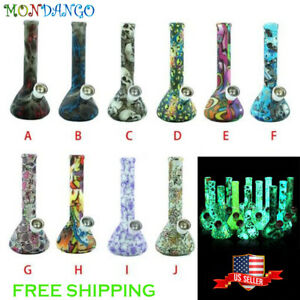 7 5 Silicone Smoking Water Pipe Bubbler Glow In The Dark Multiple Styles