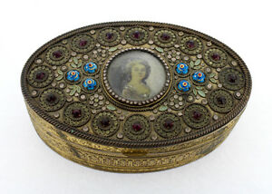 Antique French Gilt Bronze Enameled Jeweled Box With Miniature Portrait Vr