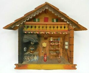 Vintage Hand Carved 3d Wooden Kitchen Scene 9 Plaque Made In Italy Alps