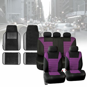 Car Seat Covers Purple For Auto Car Suv With Gray Carpet Floor Mats