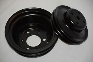 Black Big Block Chevy Long Water Pump Crankshaft Crank Pulley 396 454 Bbc