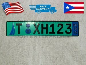 Euro License Plate Embossed Green Background With Black Numbers Tablilla Euro