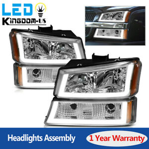 4pcs For 2003 2006 Chevy Silverado Chrome Housing Clear Headlight Lamp W led Drl
