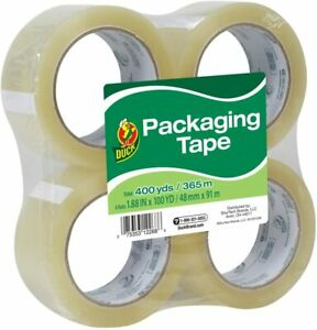 Duck Brand Start Packaging Tape 1 88 Inches X 100 Yards Clear 4 Pack 240593