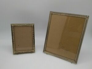 Lot Of 2 Vintage Mid Century Footed Gold Brass Tone Metal Photo Picture Frames