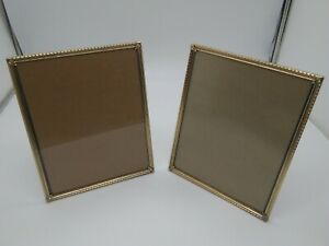 Lot Of 2 Vintage Gold Brass Tone Metal Photo Picture Frames