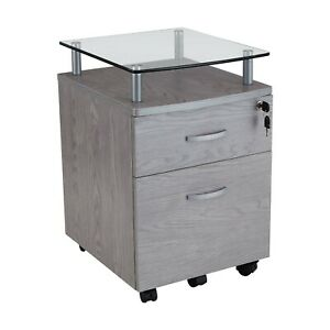 Mobile File Cabinet W Glass Top Locking Drawer Hanging Drawer In Gray Finish