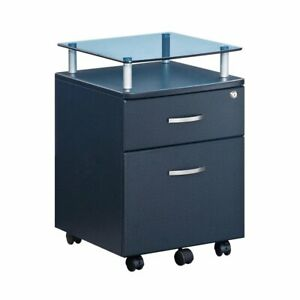 Mobile File Cabinet W Glass Top Locking Drawer Hanging Drawer In Graphite