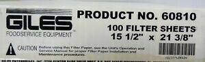 Giles Foodservice Equipment Product No 60810 15 x21 Filter Sheets 100 Count