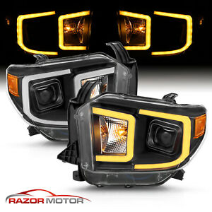 For 14 18 Toyota Tundra Pickup Switchback Led Tube Black Projector Head Lights