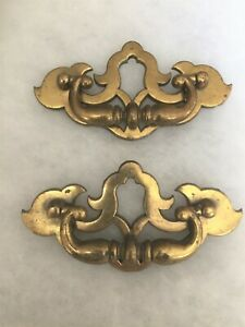 Vintage Brass Chippendale Batwing Drawer Pulls Set Of 2 Unmarked