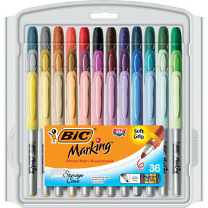 Bic Usa Inc Bic Mark It Permanent Markers Fine Point Asstd Color 36 Pack