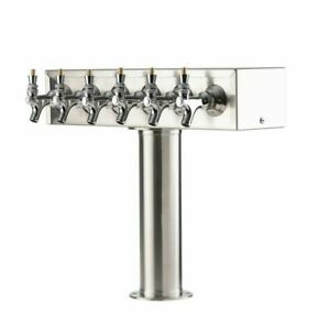 t Style 6 Faucet Beer Tower In Brushed Stainless Steel W 4 Column Kegerator