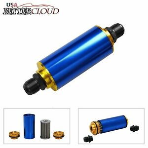 Blue An6 An8 An10 High Flow 100 Micron Cleanable Ss Racing Inline Fuel Filter