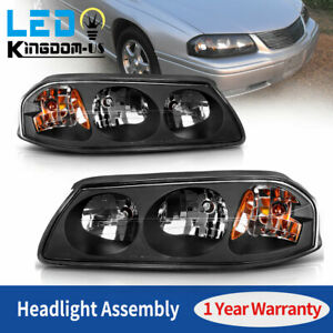 For 2000 2005 Chevy Impala Black Housing Headlights Amber Turn Signal Headlamps