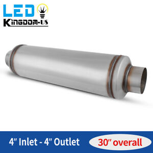 Car Muffler Resonator 4 Inlet Outlet 30 Long High Performance Stainless Steel