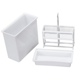 2 In 1 White 24 Pieces Microscope Slides Staining Rack Dish Set O7x7